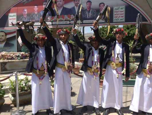 The Martyrs Foundation celebrates the wedding of five grooms from the sons of the martyrs from Marib